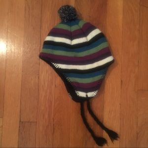 Other - Multicolor Striped Pom Winter Hat